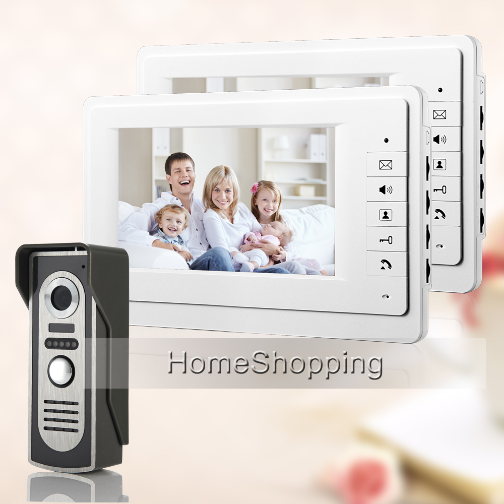 FREE SHIPPING NEW 7 Apartment Color Video Intercom Door phone System With 2 White Monitors + Weatherproof Door Camera IN STOCK free shipping new 7 video door phone intercom with 4 monitors 1 waterproof doorbell camera for 2 household apartment family