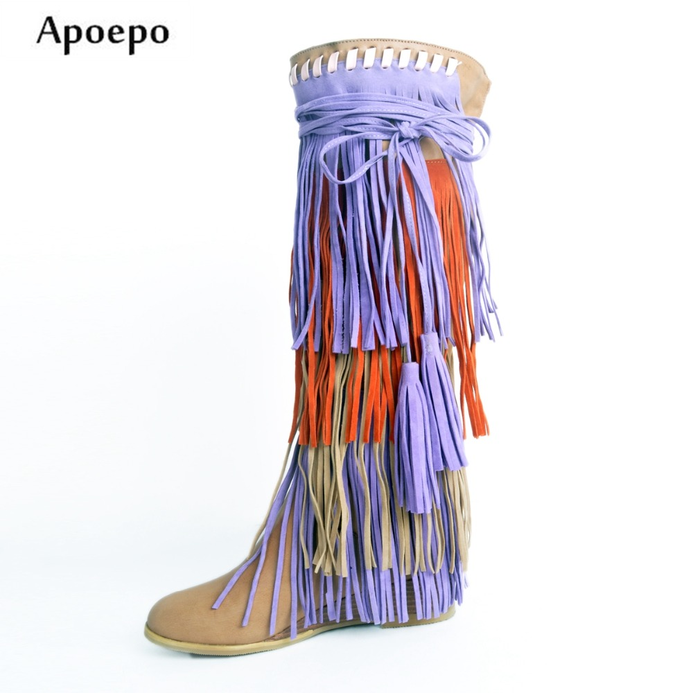 Apoepo Hot Selling Mixed Colors Suede Fringed Knee High Boots Round toe Height Increasing Woman Long Boots 2018 Tassel Boots apoepo hot selling green suede high heel