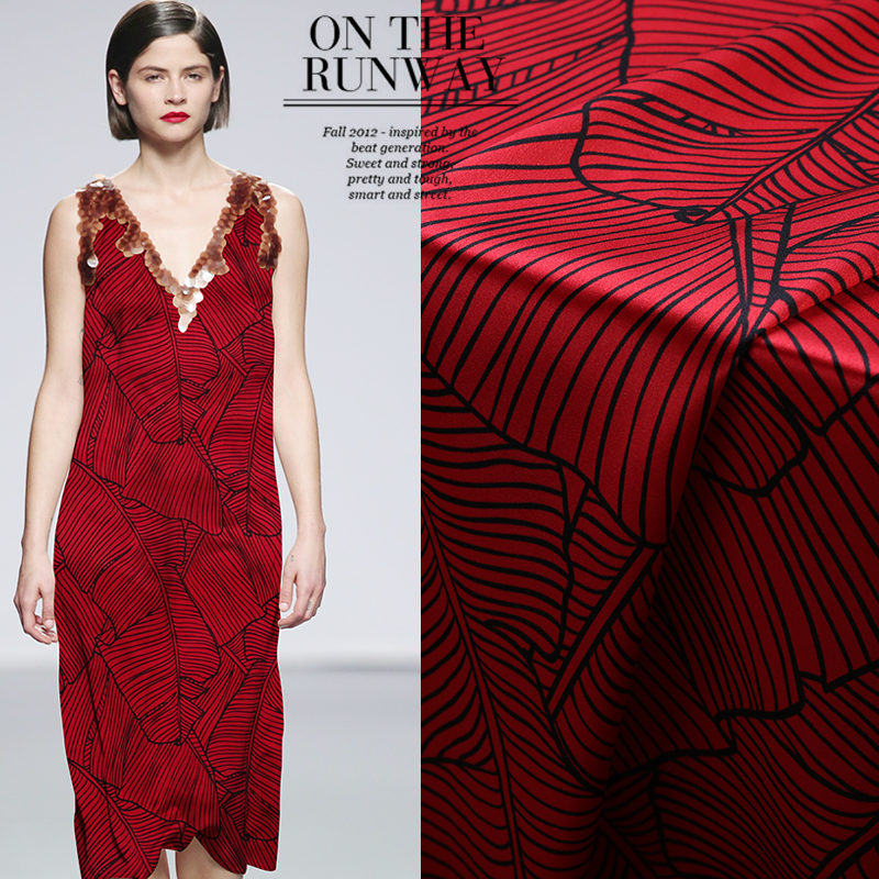 Arts,crafts & Sewing Systematic 108cm Wide 19mm 93% Silk & 7% Spandex Sketch Banana Print Stretch Red Silk Satin Fabric For Summer Dress Clothes Cheongsam B091 Wide Selection;