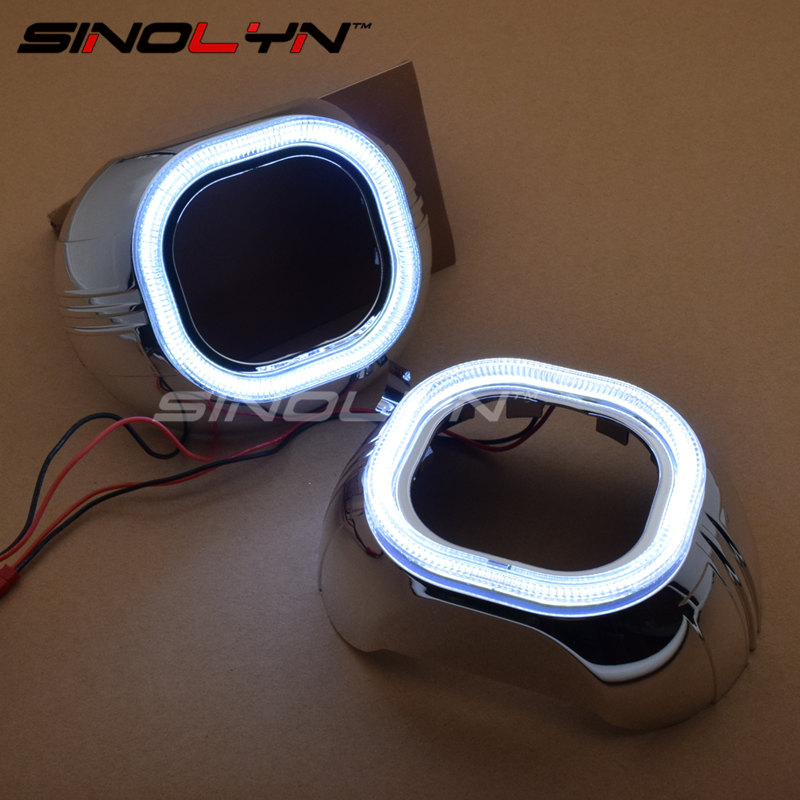 SINOLYN White LED Daytime Running Lights Square Angel Eyes Halo Bezel Shrouds Mask Hood For 3.0'' WST Q5 E5 Projector Lens