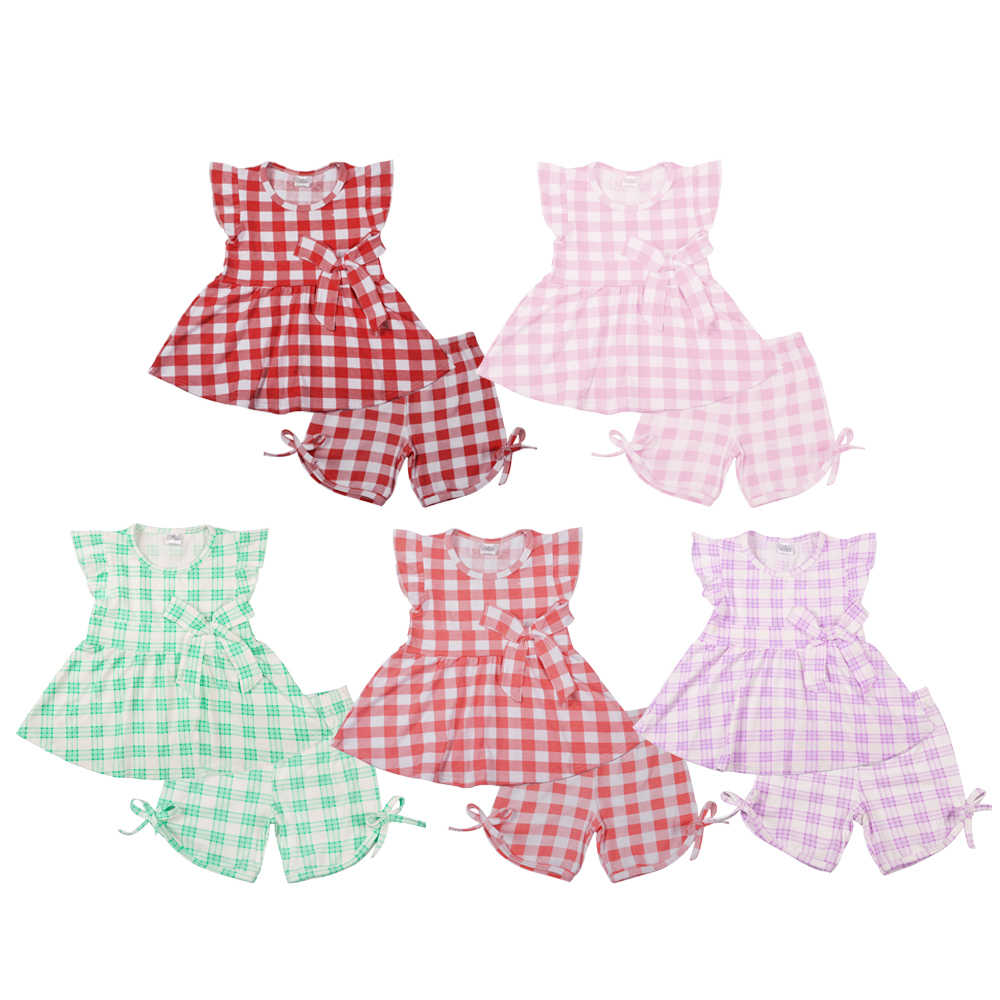 New Fashion Girls Solid Plaid Clothing Sets Hot Pink Red Green Top Matching Shorts High Quality Kids 100% Cotton Outfits Set