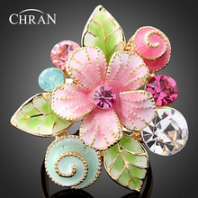 Chran Fashion Enamel Flower Rings for Women Wholesale Gold Color  Shining Crystal Party Jewelry