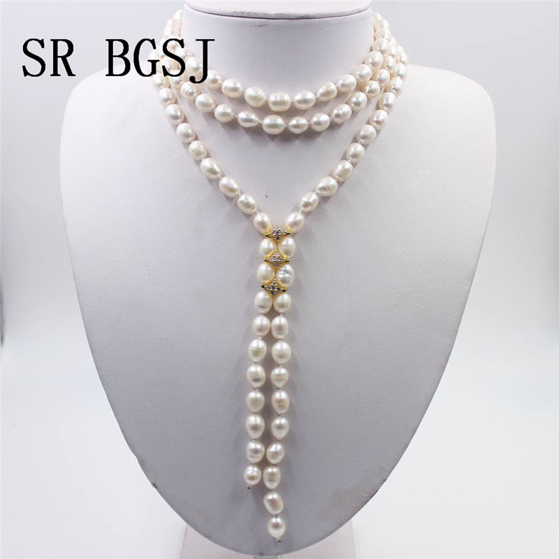 Free Shipping Gift Packed! 7-8mm Olivary Rice White Freshwater Pearl Knot Rhinestone Sweater Jewelry Long PearlNecklace 48