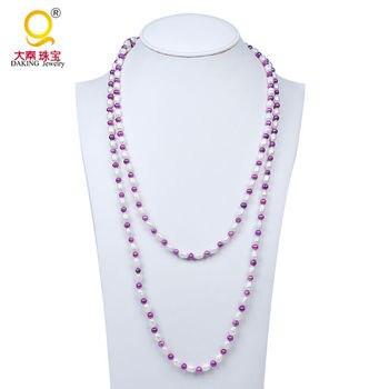Традиционный Strand Жемчужное ожерелье два цвет выбран длинные пресноводного жемчуга бисера ожерелье завязанная ожерелье из бисера