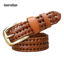GEERSIDAN Fashion Brand luxury designer Weaving belt women men high quality genuine leather girdle breathable for jeans