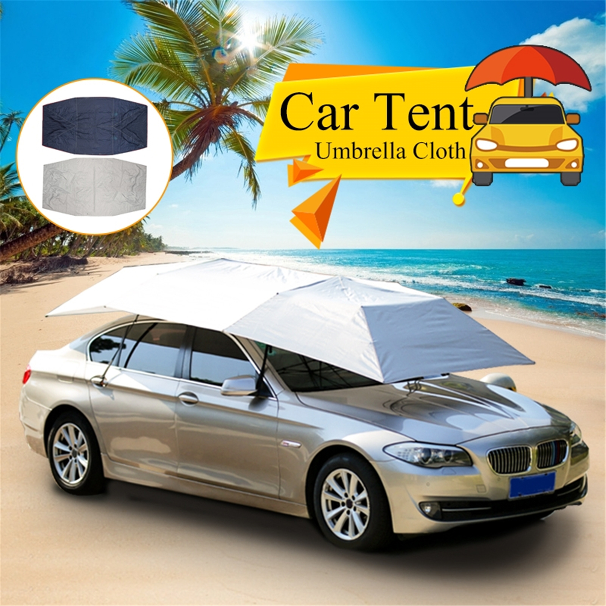 Foldable Outdoor Car Tent Umbrella Sunshade Roof Cover Cloth Full Automatic Anti UV Waterproof Windproof Replaceable Car CoverFoldable Outdoor Car Tent Umbrella Sunshade Roof Cover Cloth Full Automatic Anti UV Waterproof Windproof Replaceable Car Cover