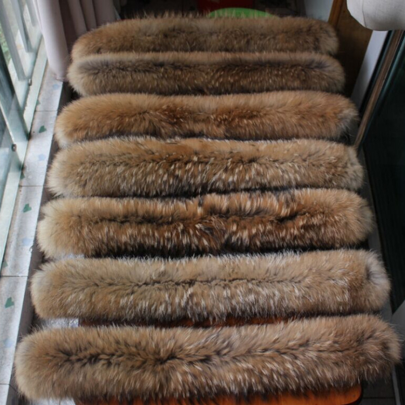 Big Raccoon Fur Collar Hood Trim Natural Raccoon Fur Hood Collar Down Coat Fur Collar Custom Made Big Fur Collar
