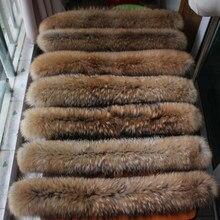 Grande gola de pele de guaxinim capa guarnição natural de pele de guaxinim capa gola para baixo casaco de pele feito sob encomenda gola de pele grande