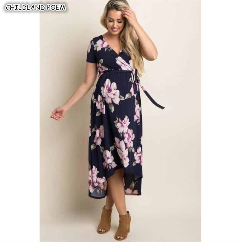 567229edd8 Mutterschaft Kleider Sommer Mutterschaft Kleidung Floral Elegante  V-ausschnitt Schwangerschaft Kleid Baumwolle Frauen Pflege Stillen Kleid