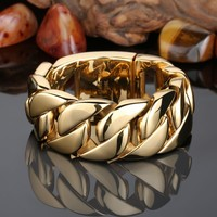 32mm Arabic Gold Jewelry Huge Heavy Luxury Cool Man Bracelet 316L Men Stainless Steel Bracelet Gold Friendship Bracelets