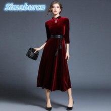 2018 Hot Sale Womens Spring Dress Vintage Stand Neck Loose Solid Color Vestidos Party Femme Velvet Robe Dresses For Ladies