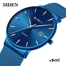BIDEN Ultra Thin Business Men Watch Fashion Casual Mesh Steel Band Quartz Watch Military Waterproof Wristwatch Relogio Masculino стоимость