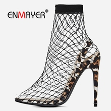 ENMAYER women sexy fashion high heel sandals Basic Super High Pointed Toe Casual Slip-On shoes woman size 35-45 LY1257