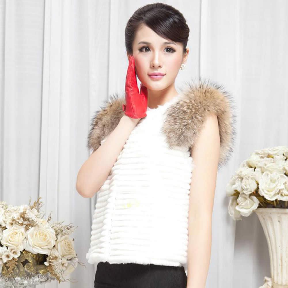 Fur Story 020158B жилет из натурального кроличьего меха, украшение из меха енота, пальто, куртка, пальто, куртка, 6 цветов - Цвет: White