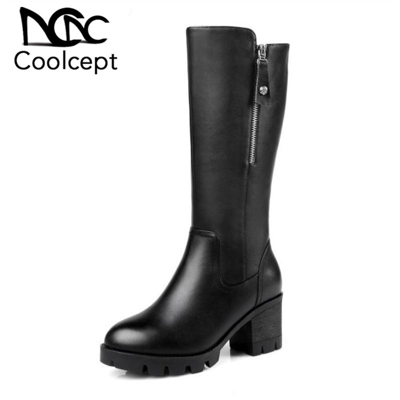 Coolcept Genuine Leather Women Boots High Heel Zipper Platform Shoes Women Warm Thick Fur Winter Boots Quality Shoes Size 35-41Coolcept Genuine Leather Women Boots High Heel Zipper Platform Shoes Women Warm Thick Fur Winter Boots Quality Shoes Size 35-41