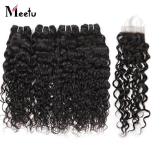 Meetu 4 Bundles Brazilian Water Wave Bundles With Closure Free Middle Three Part Lace Closure With Hair Bundles Non Remy Hair
