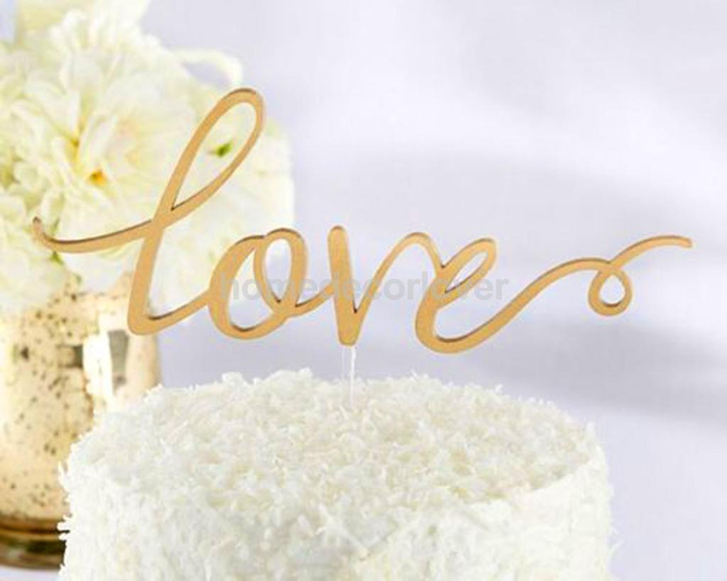 Romantic LOVE Letters Wedding Cake Topper Stand Birthday Supply ...