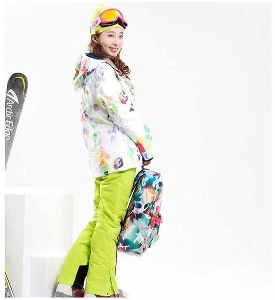 7f9c8a7fcb78 ... Women s ski clothes female riding climbing skiing suit skiwear white  ski jacket and yellow green ski ...