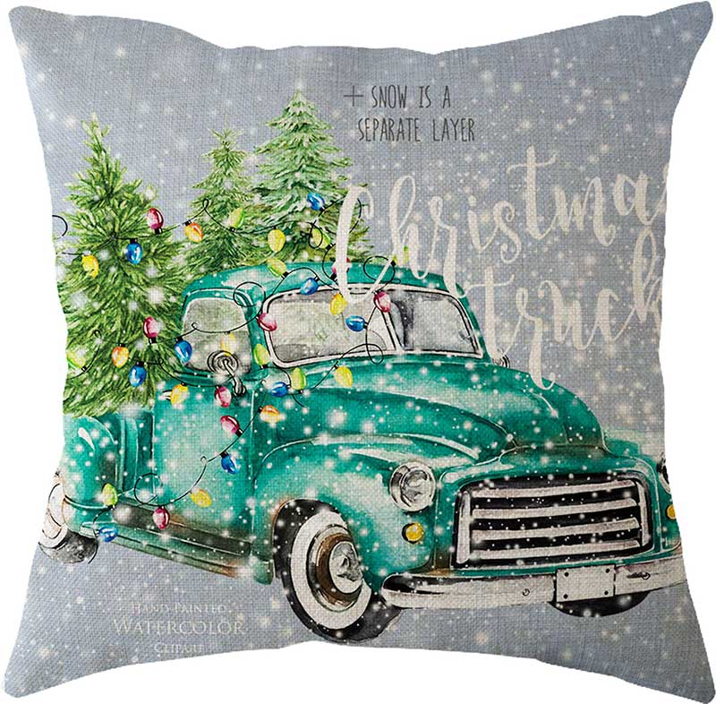 2019 New Year Christmas Decorations for Home Natal Merry Christmas Tree on The Car Linen Cushion Pillowcase 45x45cm Wholesale (4)