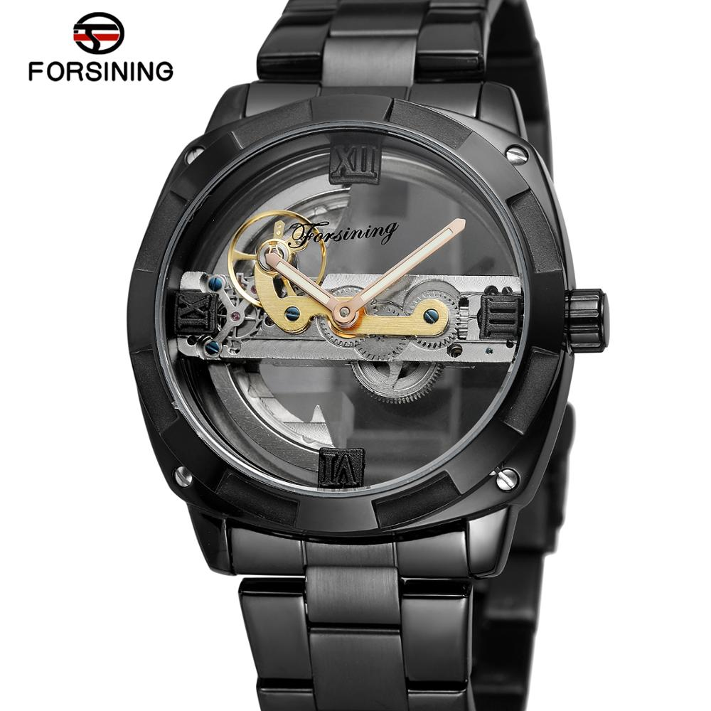Hearty Forsining Fashion Dress Watch Men Auto Mechanical Watches White Dial Ultra Thin Mesh Strap Minimalist Wristwatch Montre Homme Men's Watches