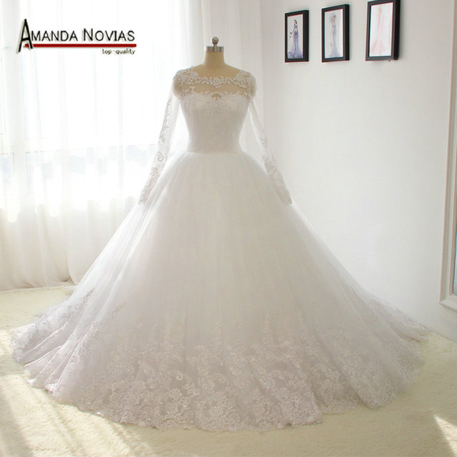 100% Amanda Novias Real Photos Long Sleeves Lace Puffy Ball Gown Wedding Dress 2019