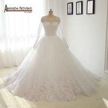 Amanda Novias robe de mariée, manches longues, dentelle, bouffante, photo réelle, 100%