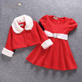 New 2016 christmas New year girl clothes dress+coat  party sets Baby girl Sets Girls dress winter clothes vetement enfant J0249