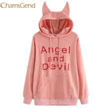 Фотография CHAMSGEND Unicorn Print Women Sweatshirt Angel And Devil Women hoodies with ears Hoody l1127