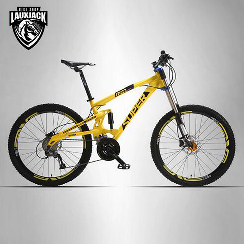SUPER Mountain Bike Double Sided Aluminum Frame 24 27 Speed Hydraulic Mechanical Disc Brakes 26 Wheels