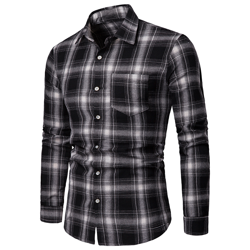 2019 Summer Brand Men's Casual Shirt New Lapel Men's Shirt Long Sleeve Casual Lattice Soft And Breathable Men's Outdoor Clothing