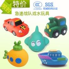 Baby bath toys vehicle model 5PCS/lot Soft Rubber cartoon simulation car airplane submarine baby bathing water spraying kid toys