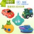 Juguetes del baño del bebé modelo de vehículo 5 unids/lote goma suave de la historieta del coche de simulación avión submarino baño del bebé pulverización de agua juguetes para niños