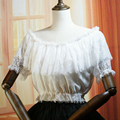 Fashion Summer women Casual short shirts Retro lace Chiffon blouses Female lolita bottoming shirts tops