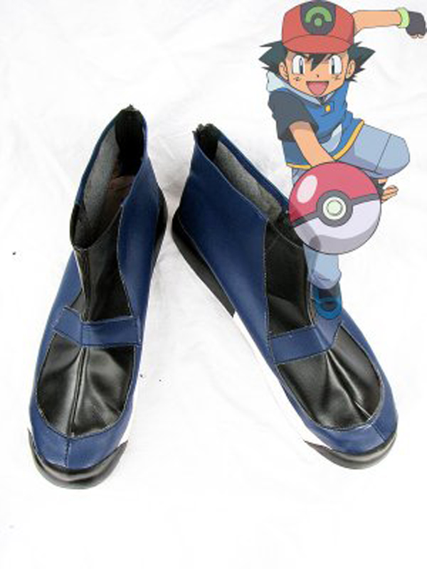 Pokemon Ash Ketchum Dark Blue Cosplay Shoes Boots For Adult Men's Long Anime Cosplay Boots Custom Made