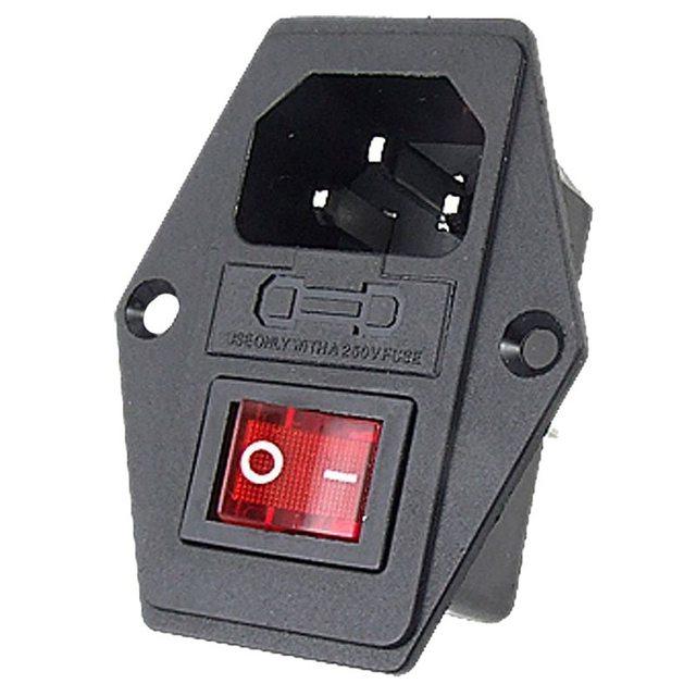 2 Pak AC Stopcontact Met Schakelaar & Zekering & Lamp, Chassis/Panel Mount