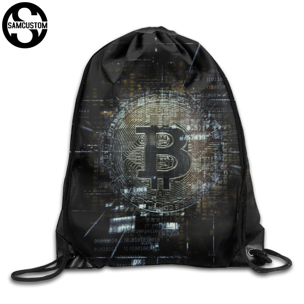 SAMCUSTOM Bitcoin 3D Print Shoulders Bag Fabric Backpack men and women Port Drawstring Travel Shoes Dust Storage Bags kai yunon women sparrow drawstring beam port backpack shopping bag travel bag aug 24