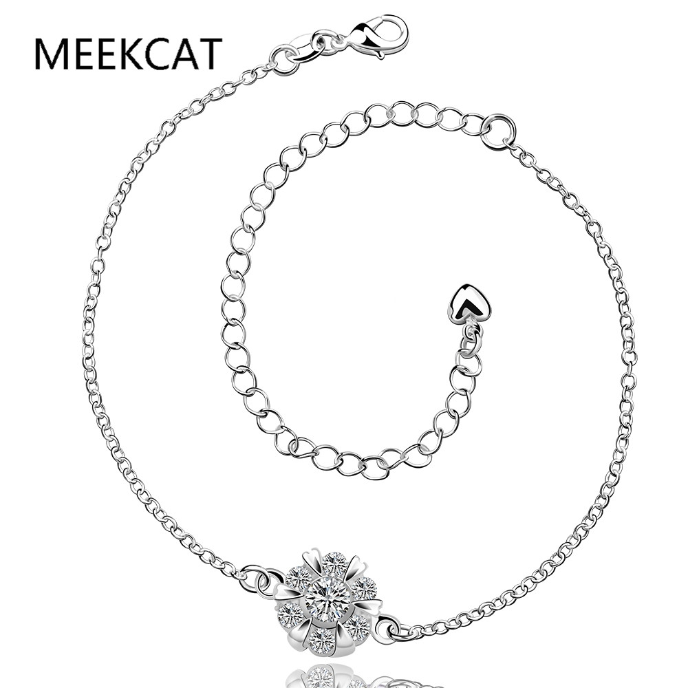 Meekcat Snowflake Crystal Heart Indian Anklet Bracelet Argent 925 Silver  Anklets For Women Foot Jewelry Argent