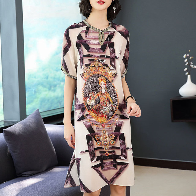2019 new spring and sumer  Womens Casual Wear of  Print Dresses and  Xxxl Plus Size Women