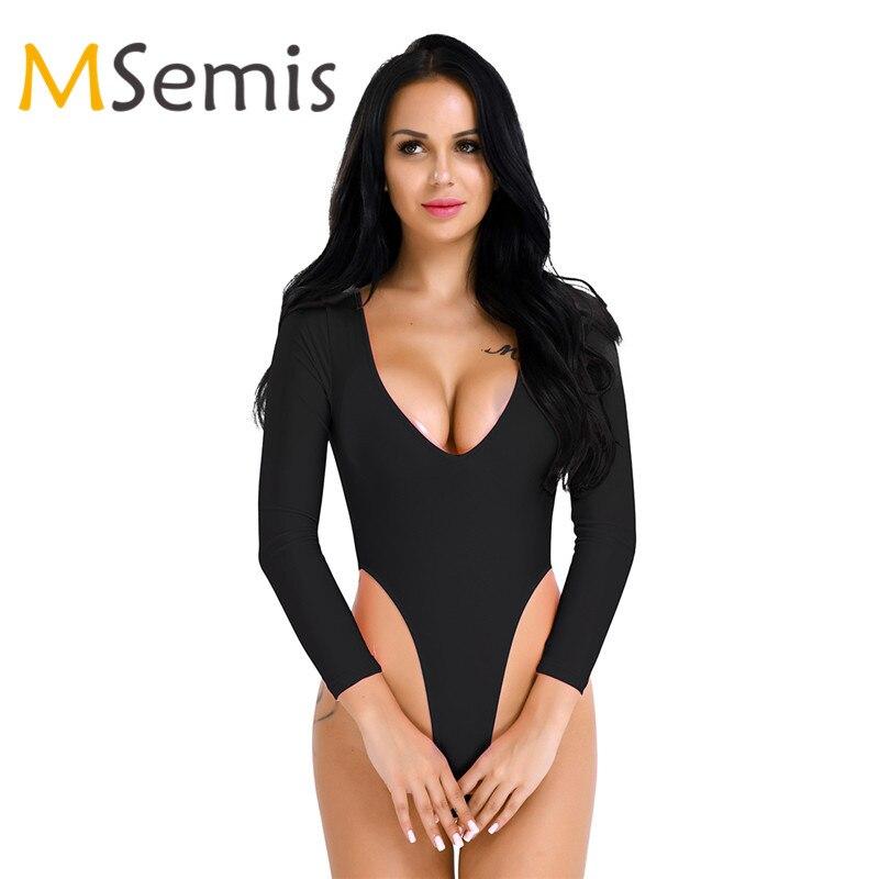 Buy Msemis Sexy Women Thong Leotard Bodysuit Lingerie Crotchless Teddy Long Sleeve High Cut Jumpsuit  Deep-V Neck Open Butt Bodysuit