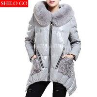 Plus size inverno delle donne di modo di alta qualità di lusso pelliccia di Volpe collare cappuccio pom pom lambwool pelliccia tasca grigio in Vera pelle cappotto 3XL