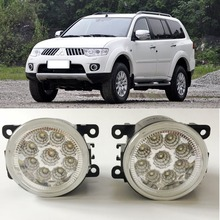 For Mitsubishi Pajero Montero Sport 2008-2014 9-Pieces Leds Chips LED Fog Light Lamp H11 H8 12V 55W Halogen Fog Lights car styling for honda cr z 2013 2014 2015 9 pieces leds chips led fog light lamp h11 h8 12v 55w halogen fog lights