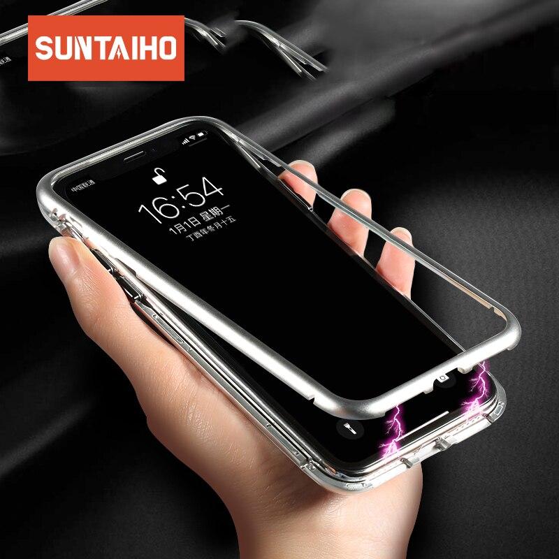 Suntaiho di Caso Magnetico per iPhone 8 7 Più Il Caso di Adsorbimento Magnetico In Vetro Temperato di Caso per il iphone XS MAX XR Metallo copertura