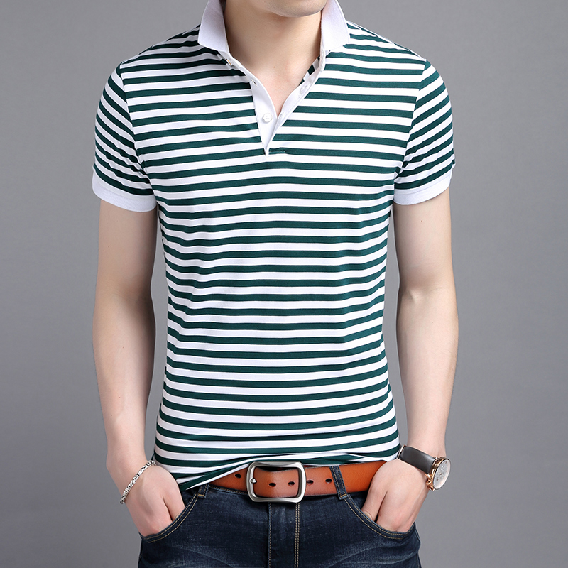 2017 New Summer Mens   POLO   Shirt Fashion Striped   Polo   Homme Slim Fit Short-sleeve Camisa   Polo   Men Summer Tops&Tees
