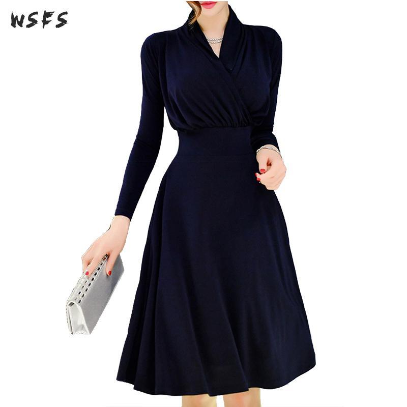 Printemps femmes robes à manches longues velours moulante Slim 2019 robe bureau dames Sexy Vintage élégant fête Midi Aline robe d'été