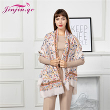 Jinjin.QC 2019 New Scarf Women Cotton Material Multi Color Floral Pattern 180*90cm Fashionable Lightweight Scarves All Seasons fashionable floral pattern yarn scarf muffler cappa deep pink