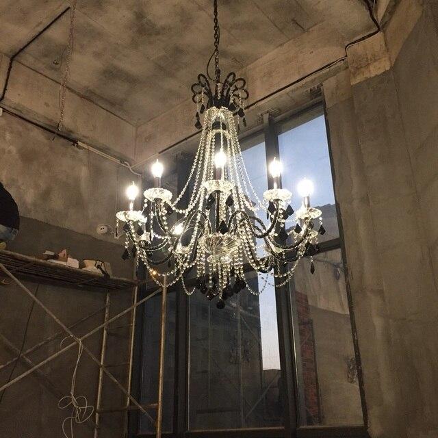 Antique black chandelier for kitchen Bar cafe lighting Loft restaurant Black crystal chandelier E14 6-10 pcs lustres de cristal