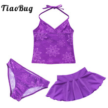 TiaoBug Kids Teens Swimming Purple Halter Crop Top with Shorts Skirt Bikini Set Girls Tankini Swimwear Swimsuit Set Bathing Suit