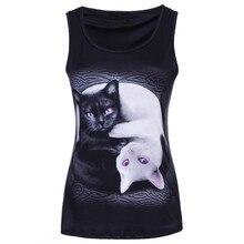 Модные женские топы без рукавов с 3D принтом кота, топы с круглым вырезом, Повседневная Блузка