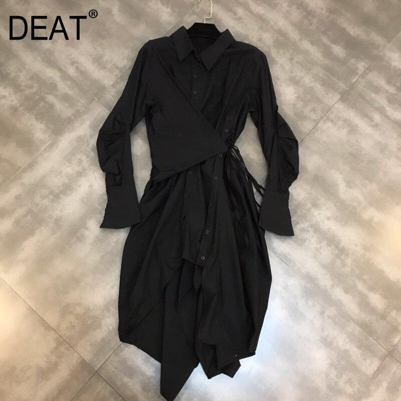DEAT 2019 nouveau printemps mode femmes vêtements décontracté lâche col rabattu irrégulière chemise robe femme Cestido ZA009100