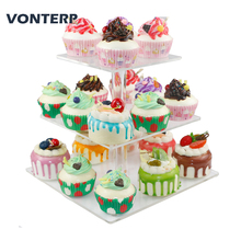 VONTERP 1PC 3 tier square acrylic cupcake stand Clear Acrylic Cupcake Stand Display Tier (4.7 between 2 layer)